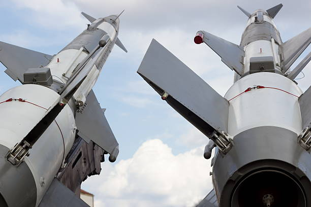 Launching pad for military rockets Missile systems on the mobile carrier antiaircraft stock pictures, royalty-free photos & images