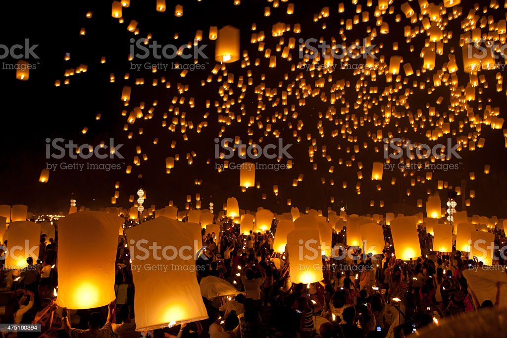 launching sky lanterns in Loy Krathong  Festival stock photo