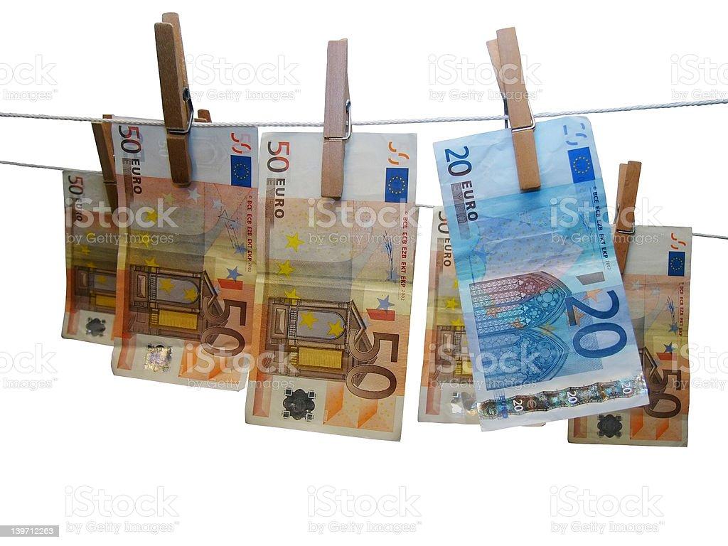 Laundered Euros royalty-free stock photo