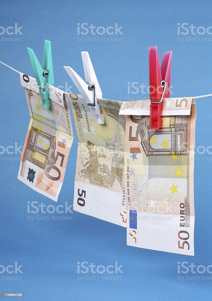 Laundering of fifty euro bills royalty-free stock photo