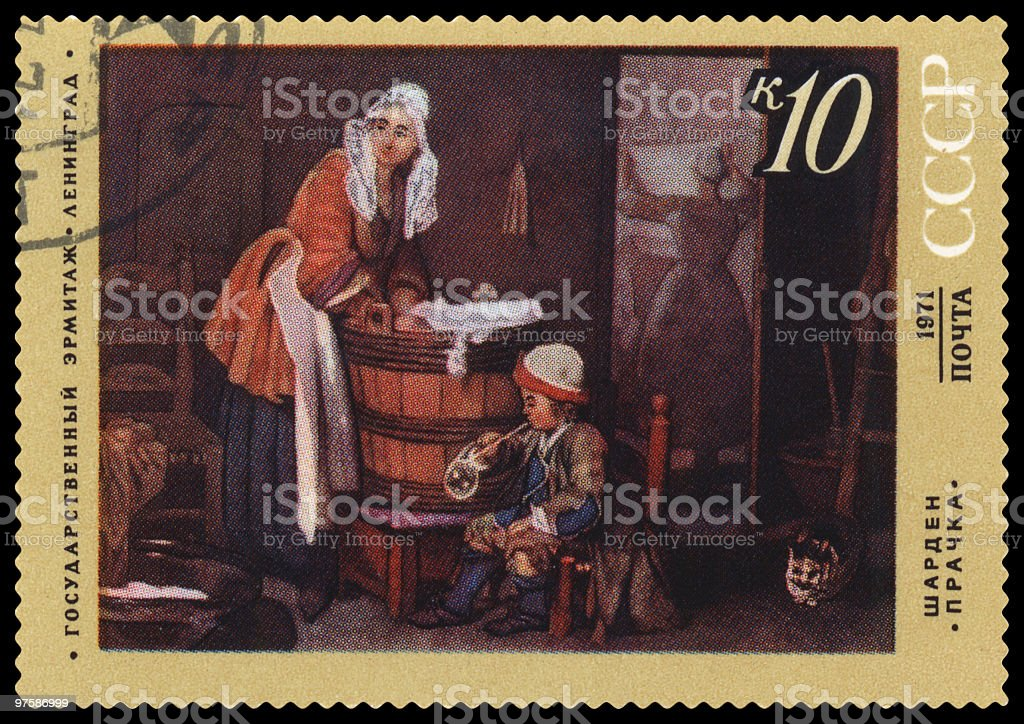 Laundress by Chardin postage stamp royalty-free stock photo