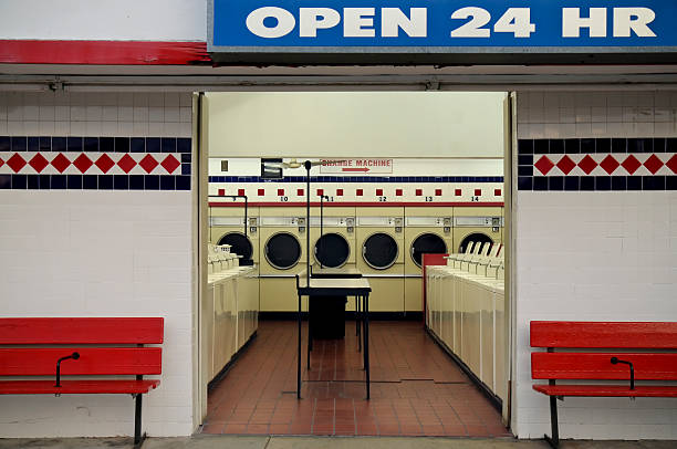 Laundromat Open 24 Hr stock photo