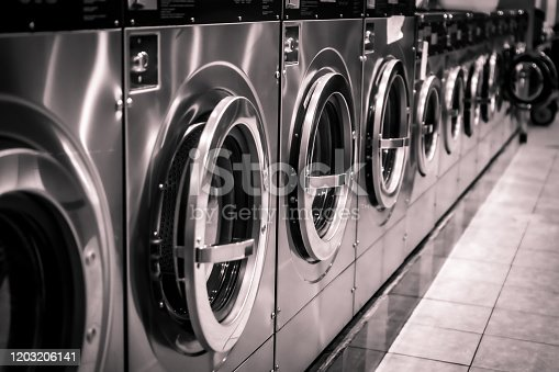 Shiny machines in a row at the laundromat