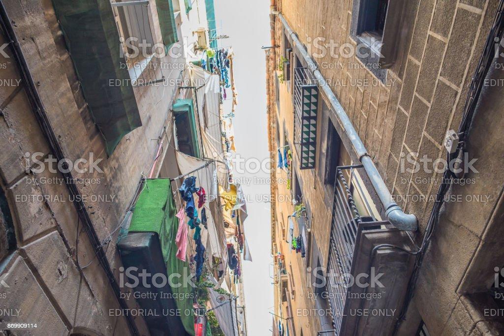 Laundry above in El Raval, Barcelona stock photo