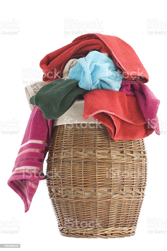 Laundry Basket and towels royalty-free stock photo