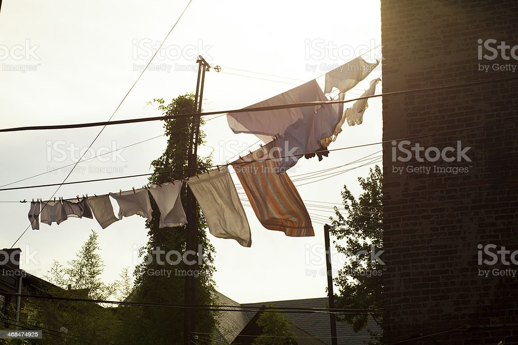 Laundry blowing in the wind royalty-free stock photo