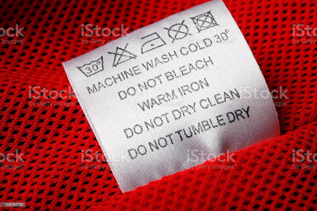 Laundry care label on white background stock photo