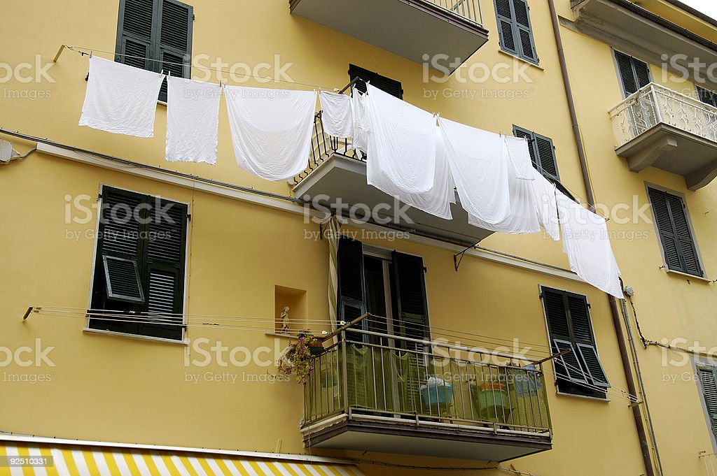 laundry day in Cinque Terre royalty-free stock photo