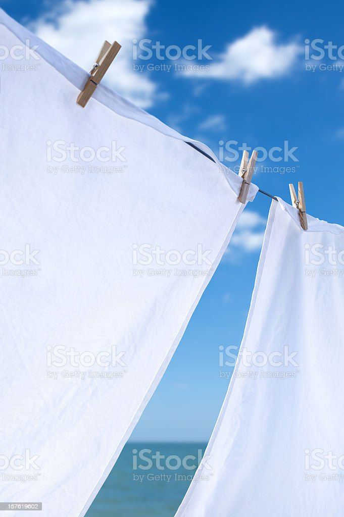 Laundry Drying by the Sea stock photo