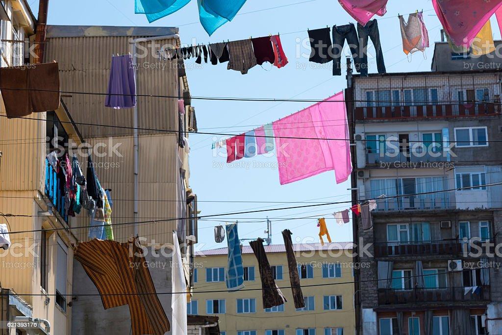 Laundry drying outdoors in Batumi, Georgia stock photo