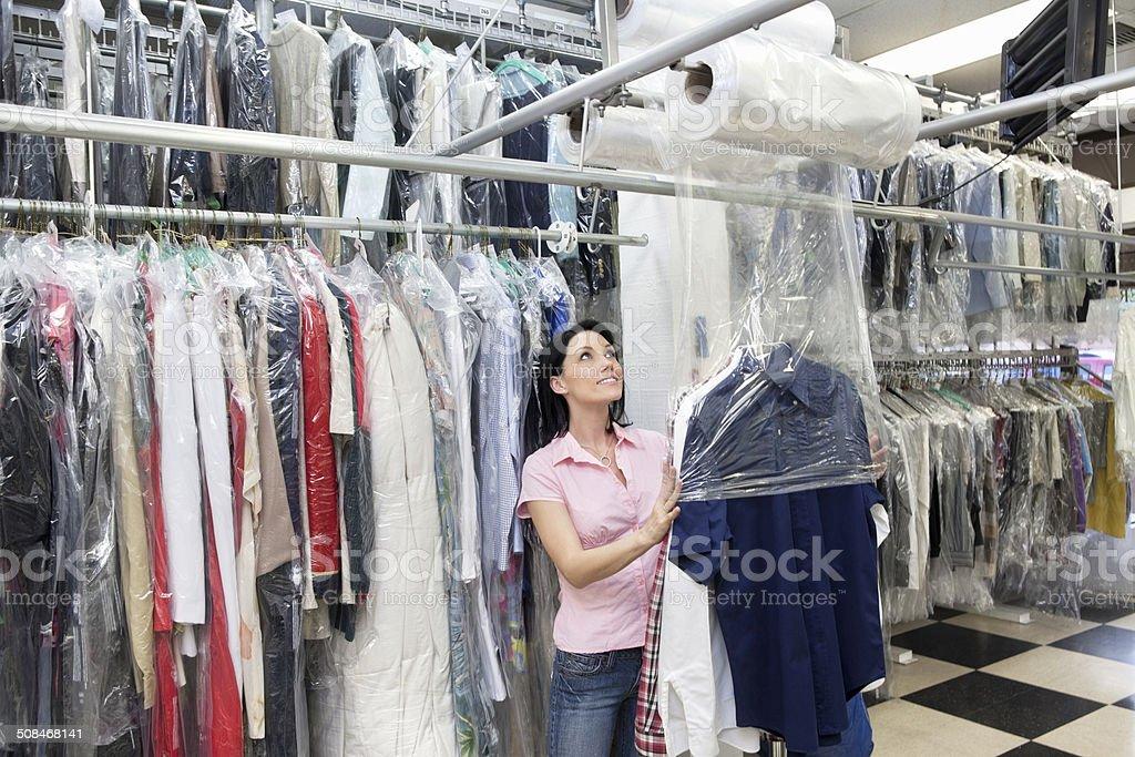 Laundry employee working stock photo