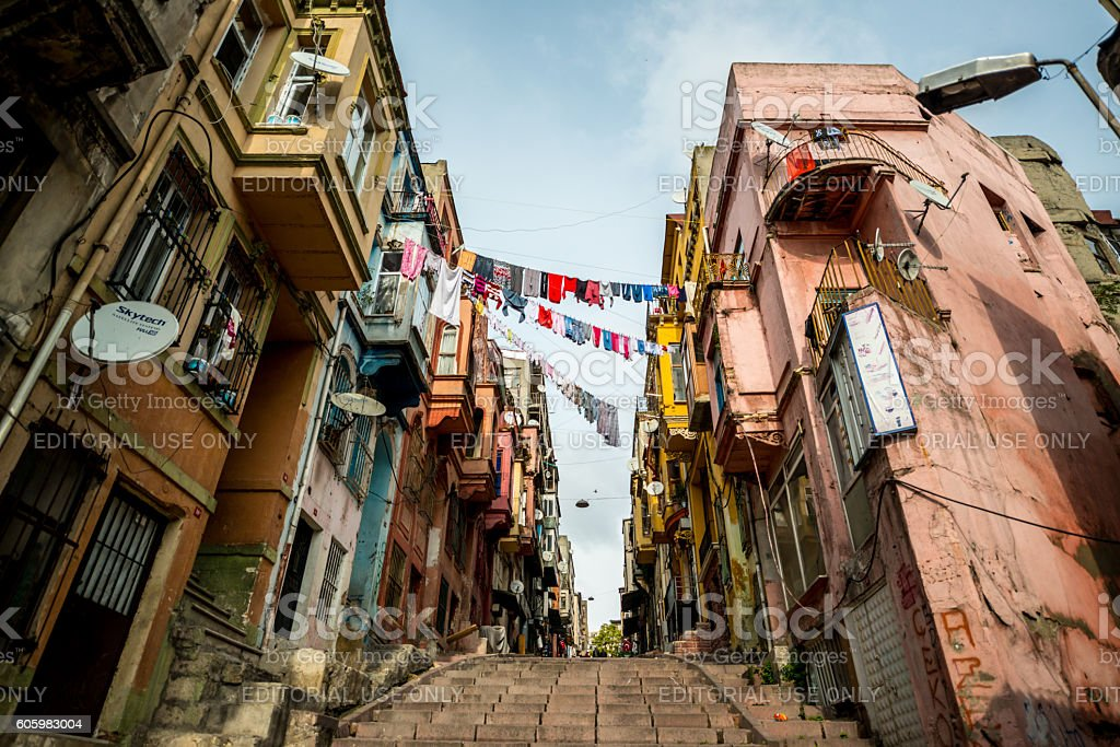 Laundry hanging between houses on Istanbul street stock photo