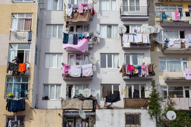 Laundry hanging on the balconies near Beyazit,Fatih. stock photo