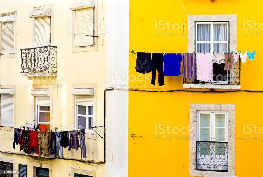 Laundry in Lisbon stock photo