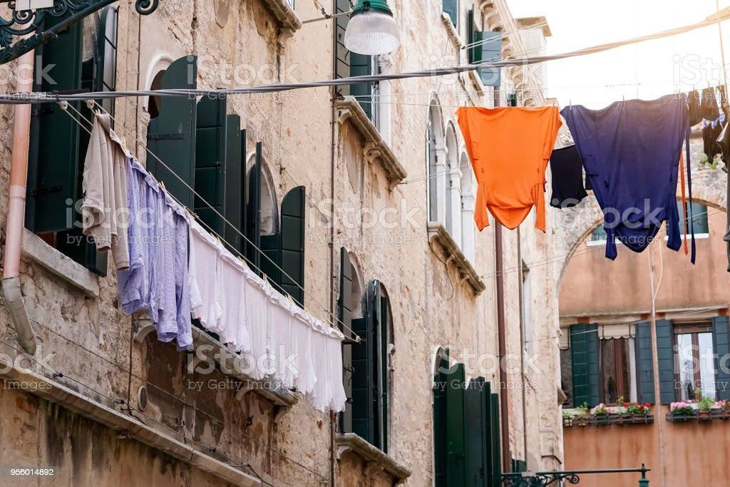 Laundry in the Venice Laundry on the streets of Venice in the morning. Architecture Stock Photo