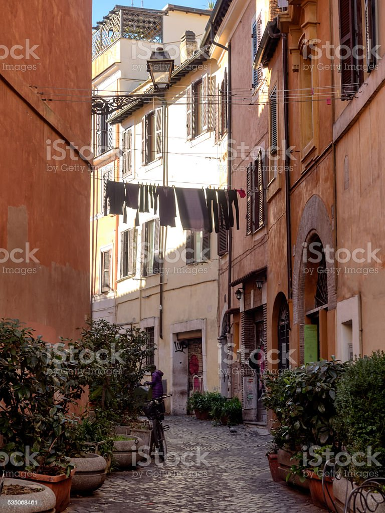 Laundry in Trastevere district of Rome, Italy stock photo