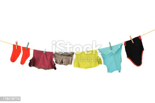 istock Laundry line with clothes on a white backround 176478775
