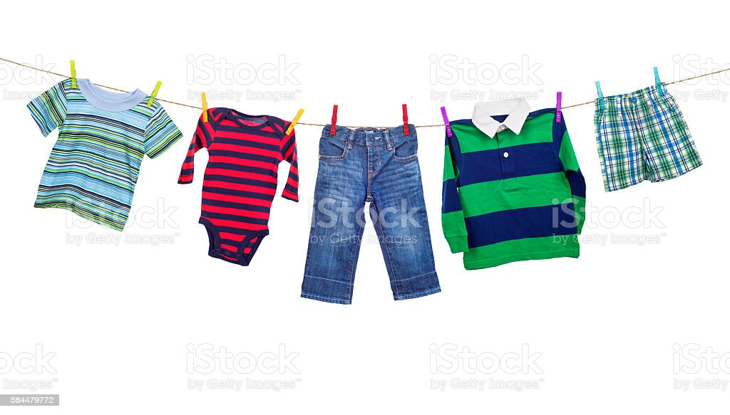 Laundry line with clothes on a white backround stock photo