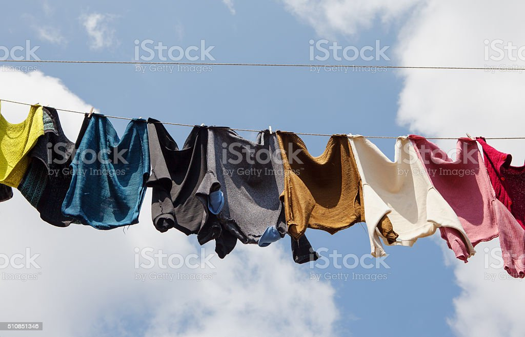 Laundry line with clothes stock photo