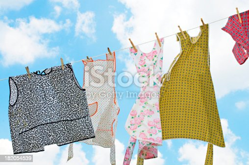 istock Laundry on Clothesline with Beautiful Sky 182054539