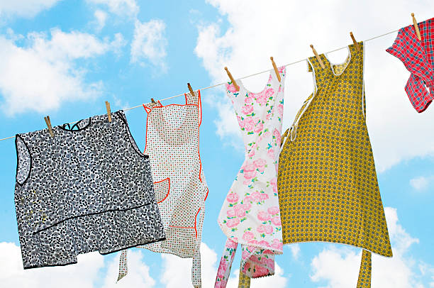 Laundry on Clothesline with Beautiful Sky stock photo