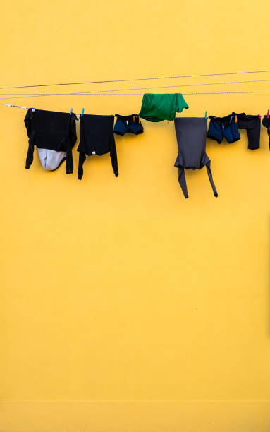 Laundry on line house facade stock photo