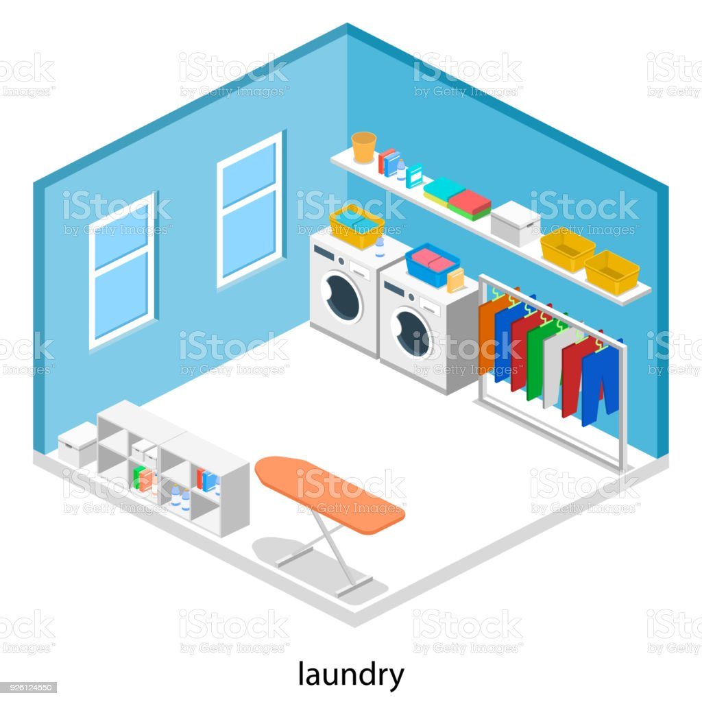 Laundry or cleaning room with washing machine and iron isometric 3D vector illustration stock photo