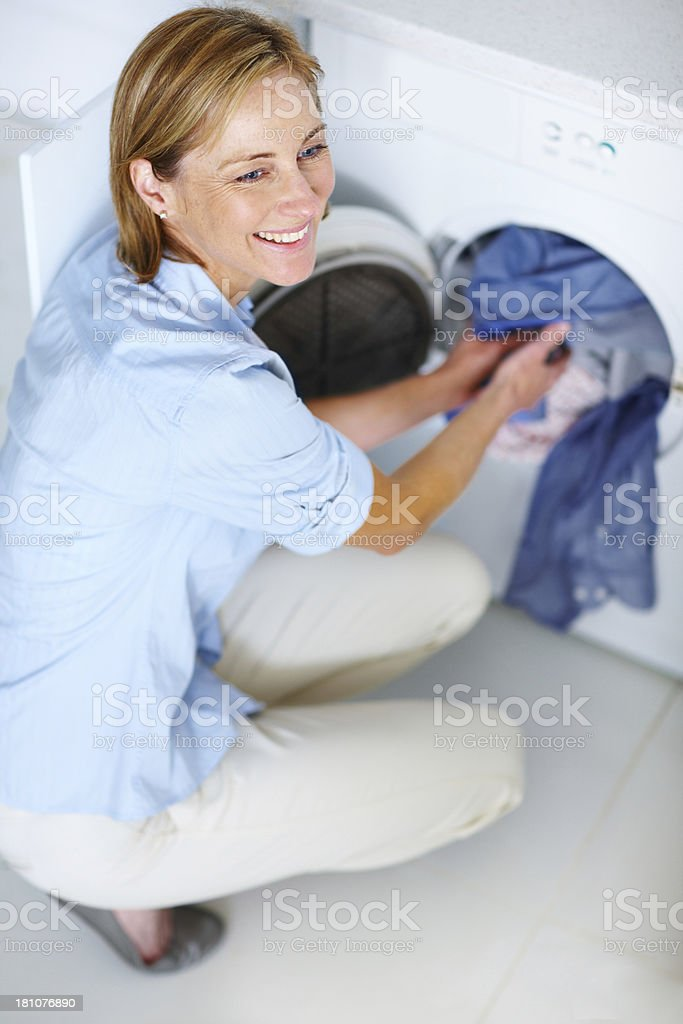 Laundry poses no problem for her stock photo