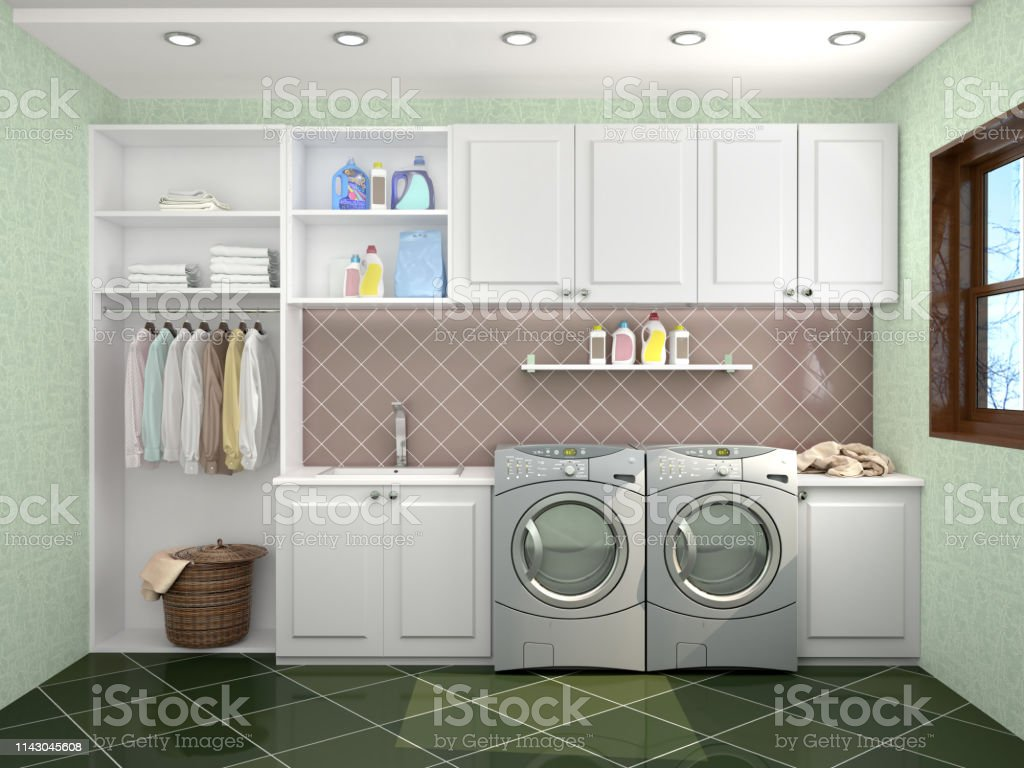 Laundry Room Design With Washing Machine 3d Illustration Stock Photo Download Image Now Istock