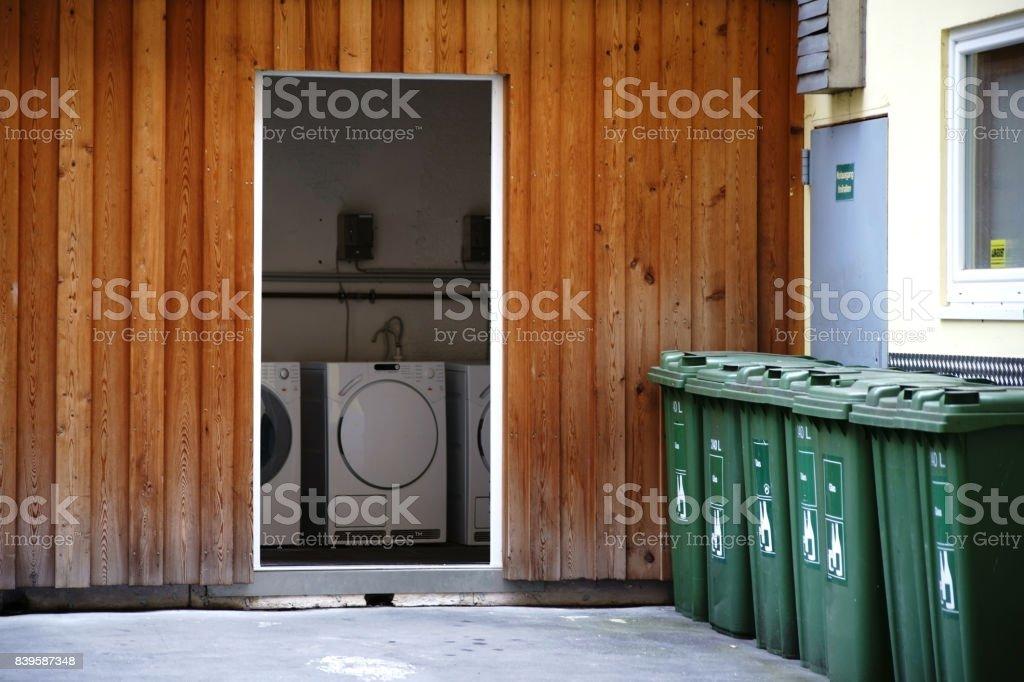 Laundry room in the backyard stock photo