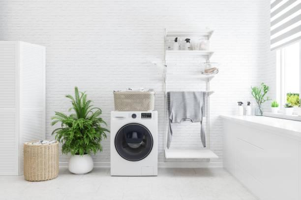 interior da lavanderia - banheiro doméstico - fotografias e filmes do acervo