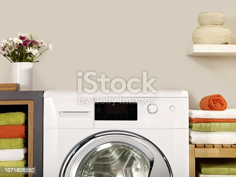 Copy space on a washer in a laundry room