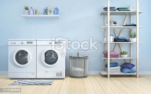 Laundry room with blue wall,basket,flowers and shelving. 3d illustration
