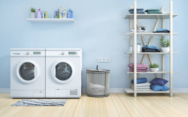 Laundry room with blue wall,basket,flowers and shelving. 3d illustration stock photo