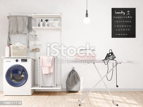 Ironing in the laundry room