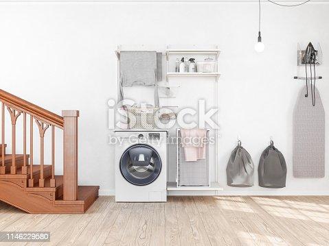 1146468307 istock photo Laundry room with washing machine 1146229580