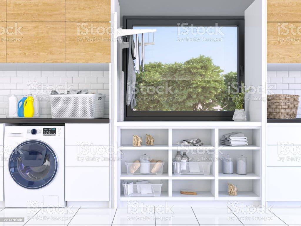 Waschküche mit weißen Schränke – Foto