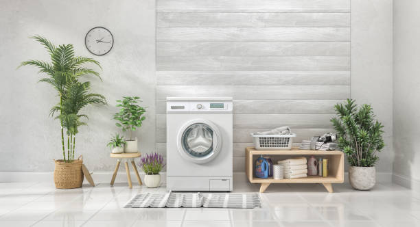 Laundry room with white wall and wooden wall,flowers. 3d illustration stock photo