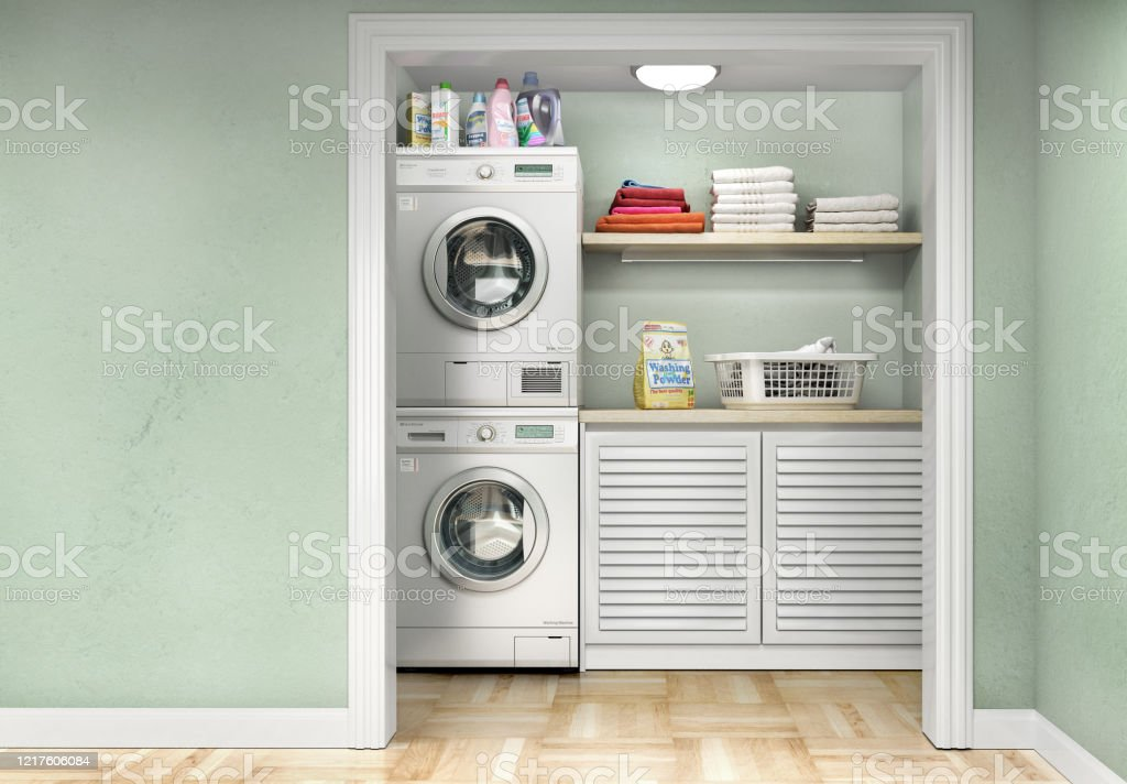 Laundry Room With Wood Floor Washing Machine At Closet Shelving And Clothes 3d Illustration Stock Photo Download Image Now Istock