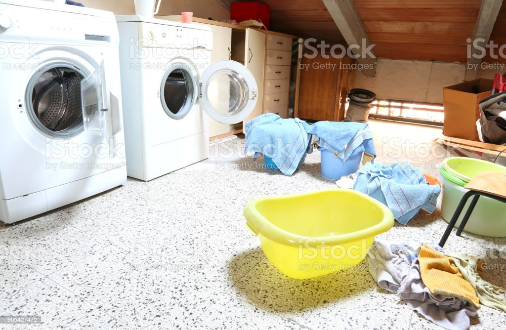 Laundry with two washing machines of a school with rags to wash royalty-free stock photo