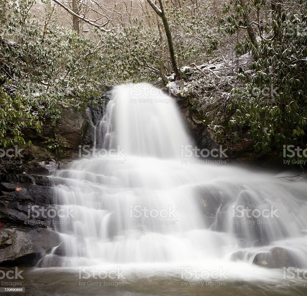 Laurel Falls in Smoky Mountains with snow royalty-free stock photo