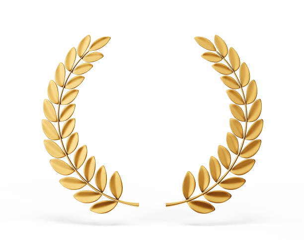laurel golden laurels element on white. 3d illustration insignia stock pictures, royalty-free photos & images