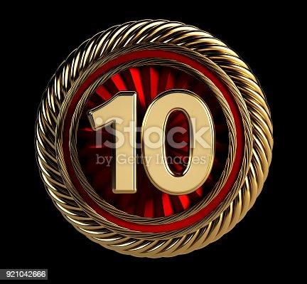 istock Laurel Wreath 10 years. Anniversary Concept on Golden Badge. 921042666