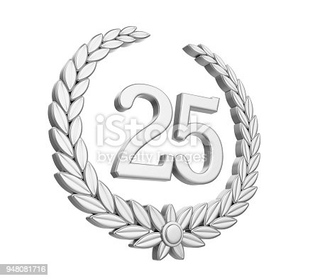 948081716 istock photo Laurel Wreath 25th Anniversary Isolated (Silver Wedding Concept) 948081716