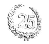 Laurel Wreath 25th Anniversary Isolated (Silver Wedding Concept)