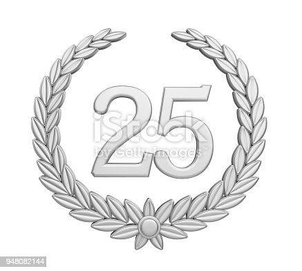 948081716 istock photo Laurel Wreath 25th Anniversary Isolated (Silver Wedding Concept) 948082144