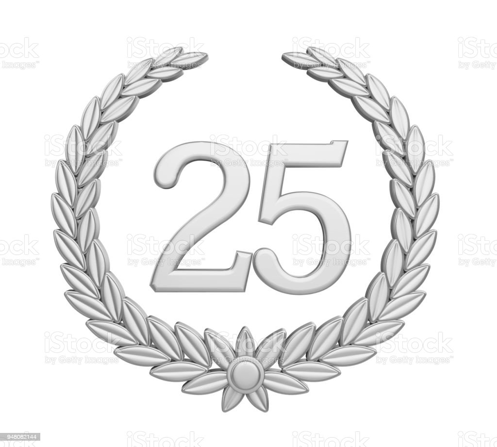 Laurel Wreath 25th Anniversary Isolated (Silver Wedding Concept) stock photo