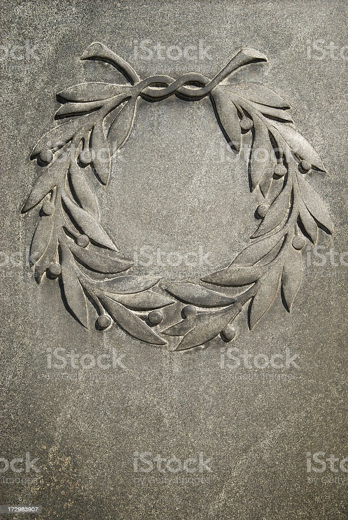 Laurel Wreath in Stone Vertical royalty-free stock photo