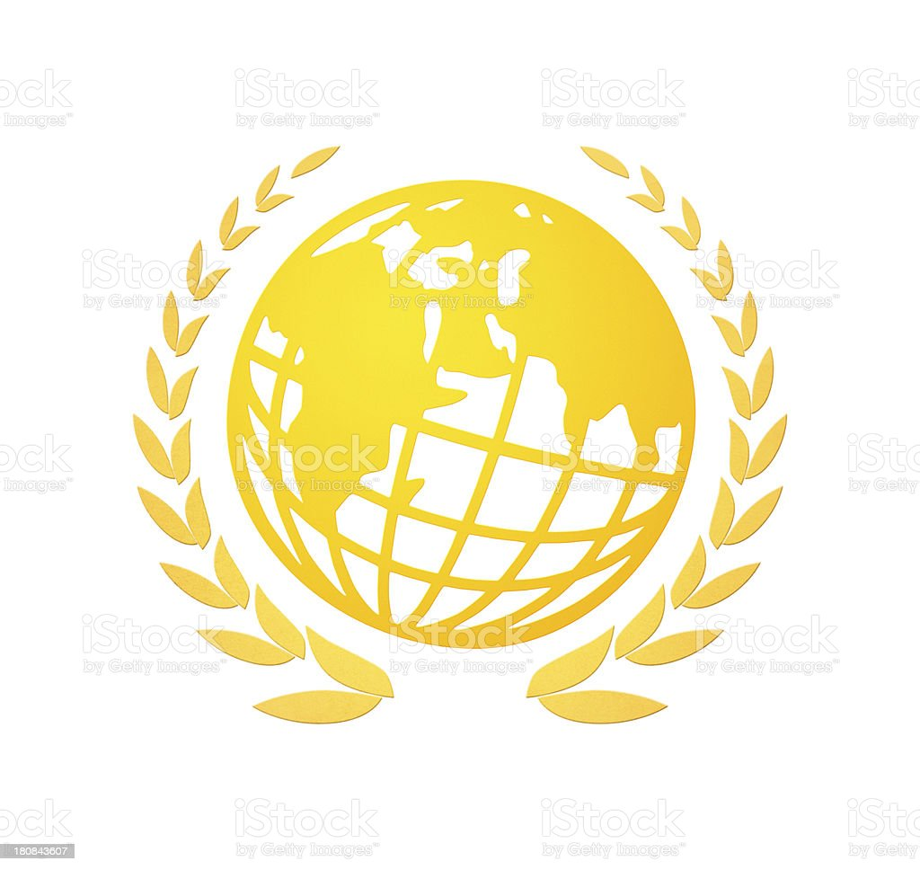 laurel wreath with globe stock photo