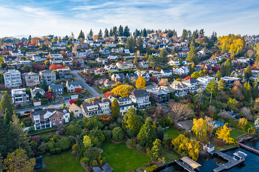 A neighborhood along Lake Washington in Seattle.  A fall day in the Pacific Northwest.